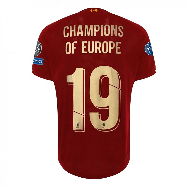 Liverpool LFC Mens Home European Shirt 19/20 - Champions Of Europe #19