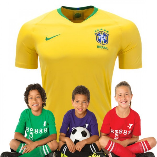 Kid's Brazil World-Cup Home Suit 2018(Customizable)